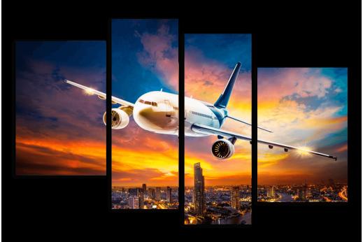 Модульная картина Самолет на закате